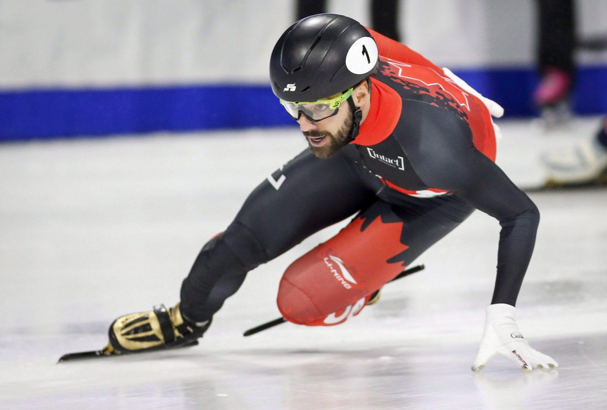 Charles Hamelin races in short track speed skating