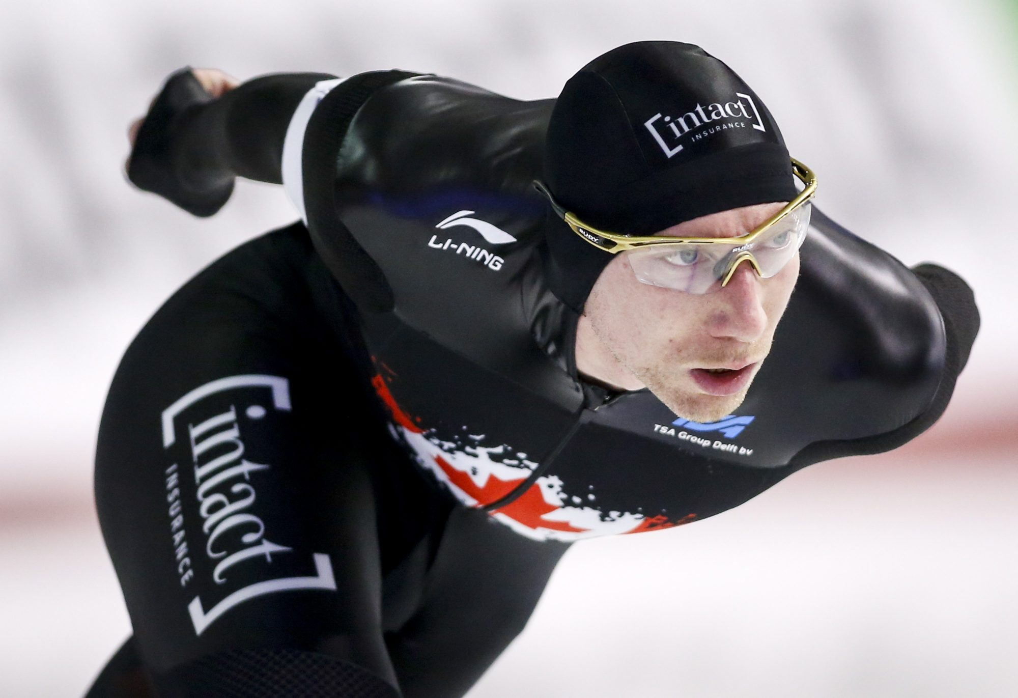 Ted-Jan Bloemen competes in a speed skating race