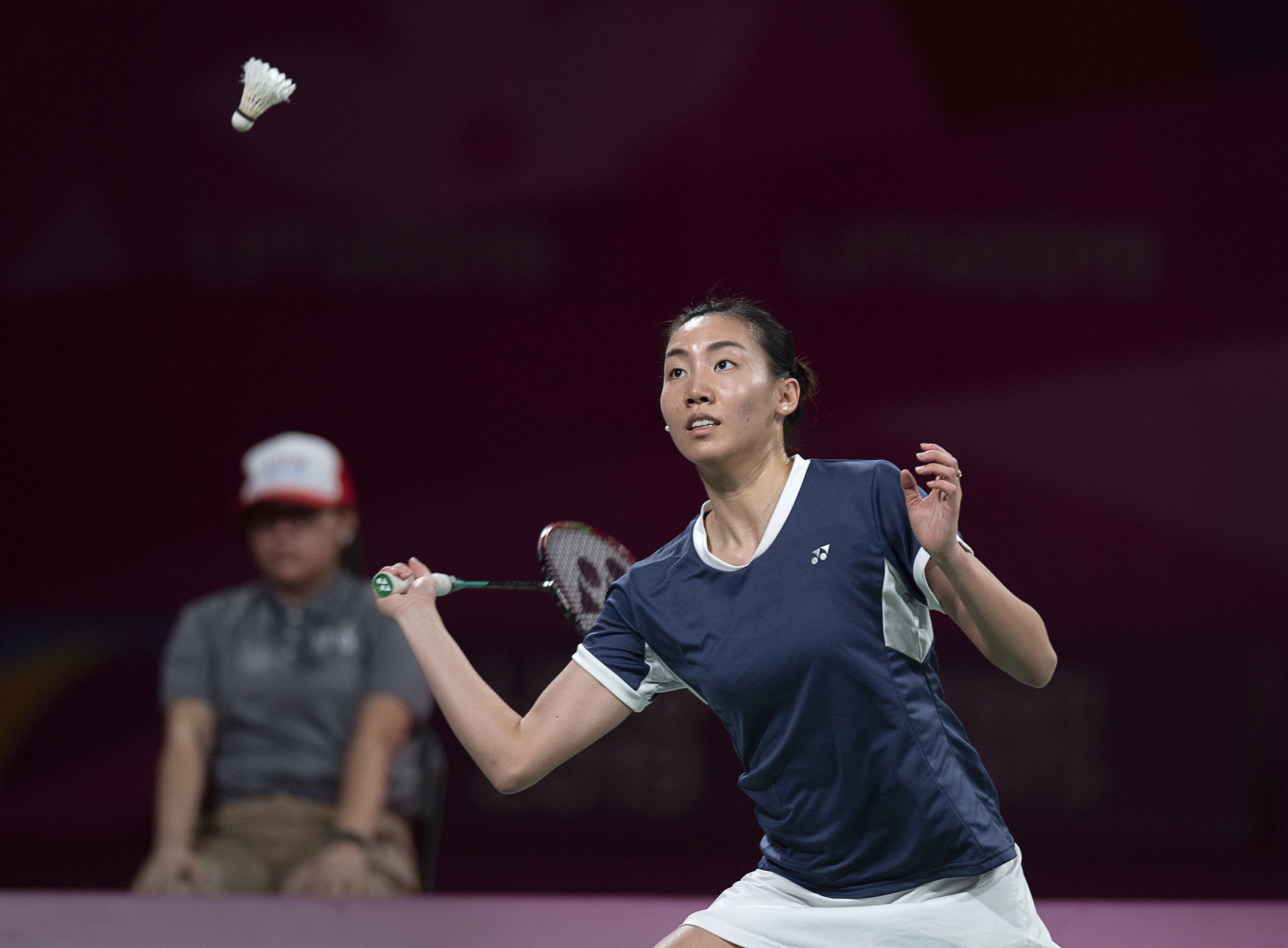 Michelle Li gets ready to return a shot at the Pan Am Games in Lima, Peru.
