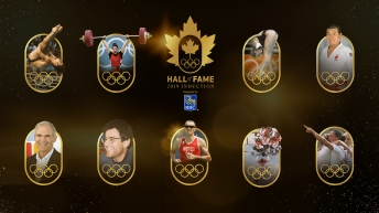Pictograms of the 2019 Canadian Olympic Hall of Fame inductees.