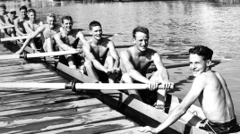 Herman Zloklikouits, third from left, with the 1954 gold medal winning eights team