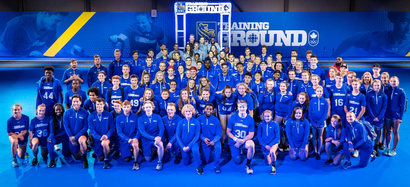 Approximately 100 RBC Training Ground National Final athletes pose for a photo with RBC Olympians and RBC Training Ground 'Future Olympians'.