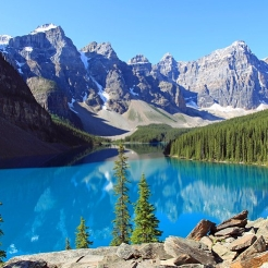 Scenic view of the lake and mountains in BANFF.