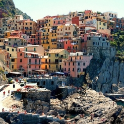 View of Cinque Terre's colourful buildings.