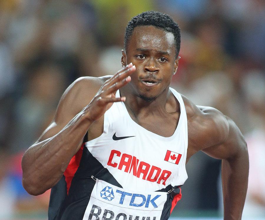 Aaron Brown sprinting