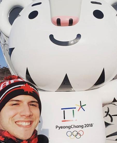 Adam poses with Soohoorang at PyeongChang 2018