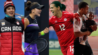 collage of Mark McMorris, Bianca Andreescu, Christine Sinclair and Andre DeGrasse.