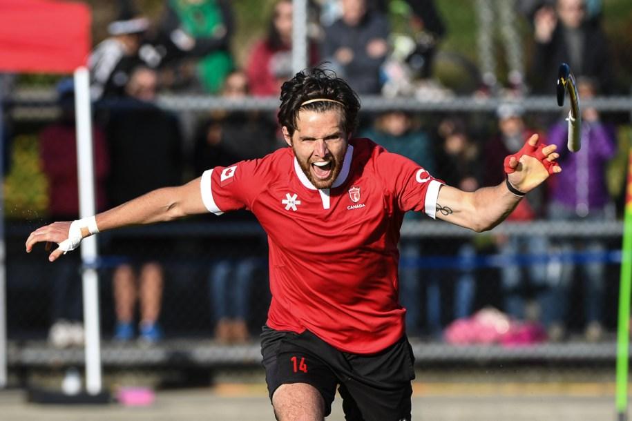 Adam Froese celebrates scoring the winning shootout goal.