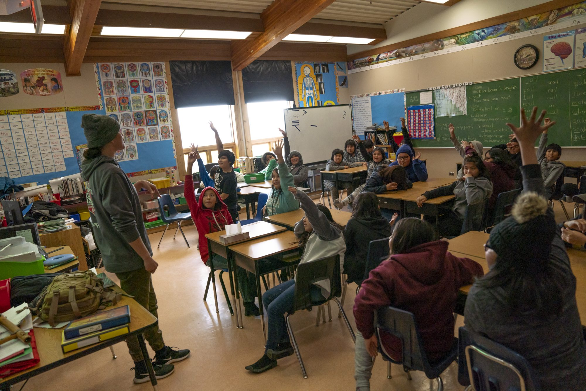 Mary Spencer speaks to a classroom of students in norther Ontario