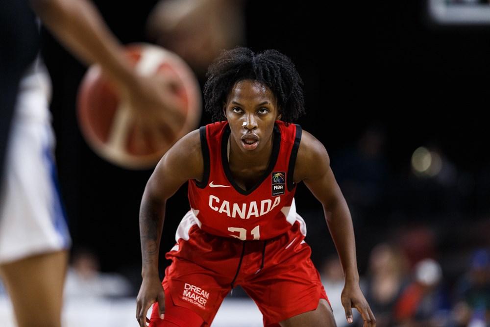 Team Canada defeats the Dominican Republic at the FIBA women's Olympic pre-qualifier tournament in Edmonton, November 17th, 2019 (Photo credit: FIBA)