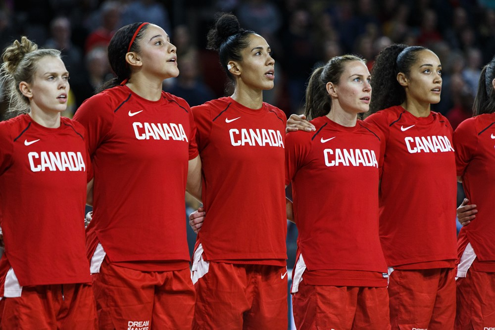 Team Canada sings the National Anthem