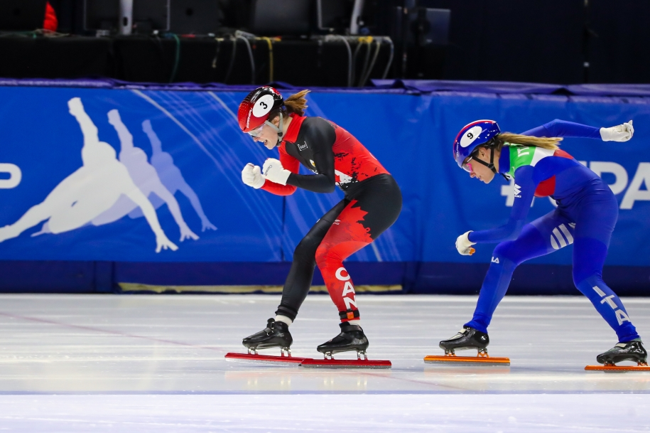 Kim Boutin wins gold in the 500m at the ISU Short Track World Cup in Montreal