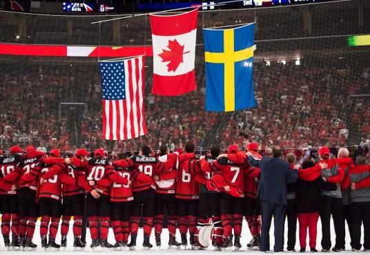 Hockey team celebrating