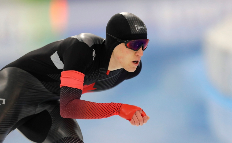 Canada's Graeme Fish competes during the men's 5000 meters race of the speed skating World Cup at the Minsk ice arena in Minsk, Belarus, Friday, Nov. 15, 2019. (AP Photo/Sergei Grits)