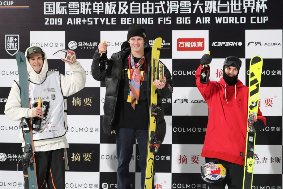 From left: Canada's Teal Harle, runner up, Norway's Birk Ruud, first and Sweden's Jesper Tjader, second runner-up celebrate at the podium