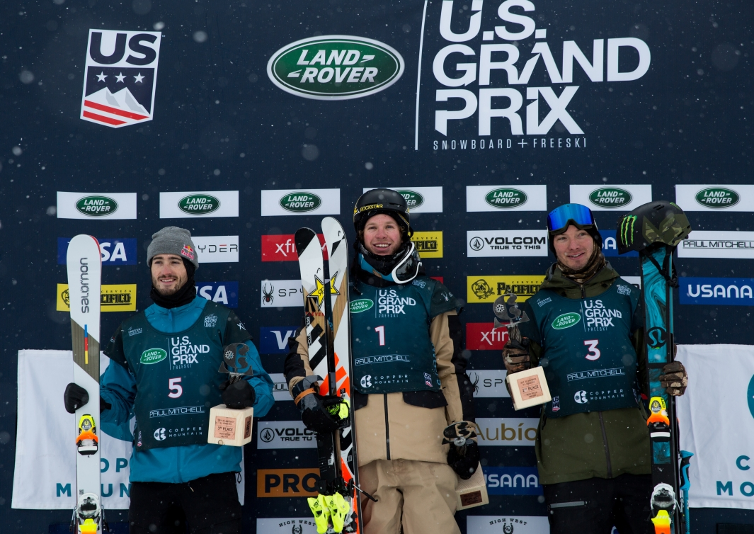 The men's podium for the Copper Mountain Halfpipe World Cup on Friday, December 13, 2019.