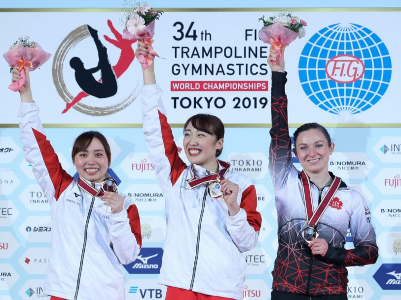 TOKYO, JPN (December 1, 2019) – Rosie MacLennan of King City, ON captured a bronze medal in women's individual trampoline on Sunday to wrap-up the 2019 FIG Trampoline Gymnastics World Championships in Tokyo, JPN. (Photo from Gymnastics Canada).