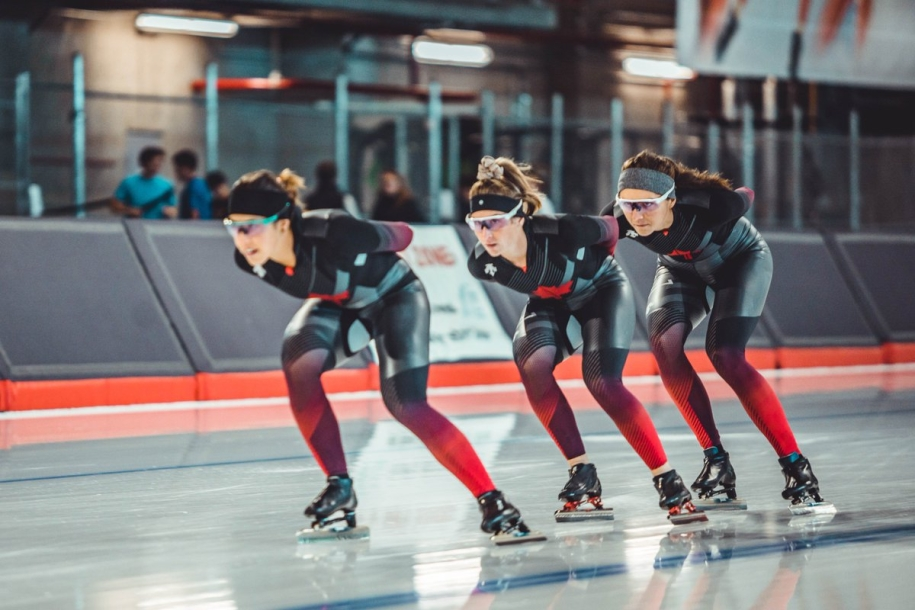Team Canada - Ivanie Blondin, Isabelle Weidemann, Valerie Maltais and BéatriceLamarche - capture gold in the team pursuit on Sunday December 8th in Nur-Sultan, Kazakhstan. (Photo from Speed Skating Canada Twitter)