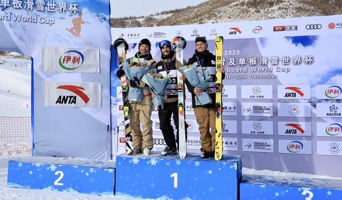Noah Bowman captured gold in the men's freeski halfpipe event. His second and best run of the day earned him 91.50 points to defeat the Americans Aaron Blunck (90.75) and Lyman Currier (89.75), who finished with silver and bronze respectively. Sunday December 21st, 2019. Photo from FIS Freestyle Twitter.