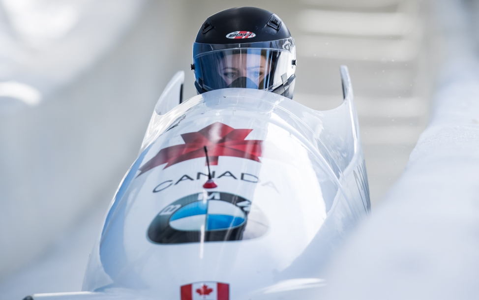 Melissa Lotholz races down the bobsleigh track.