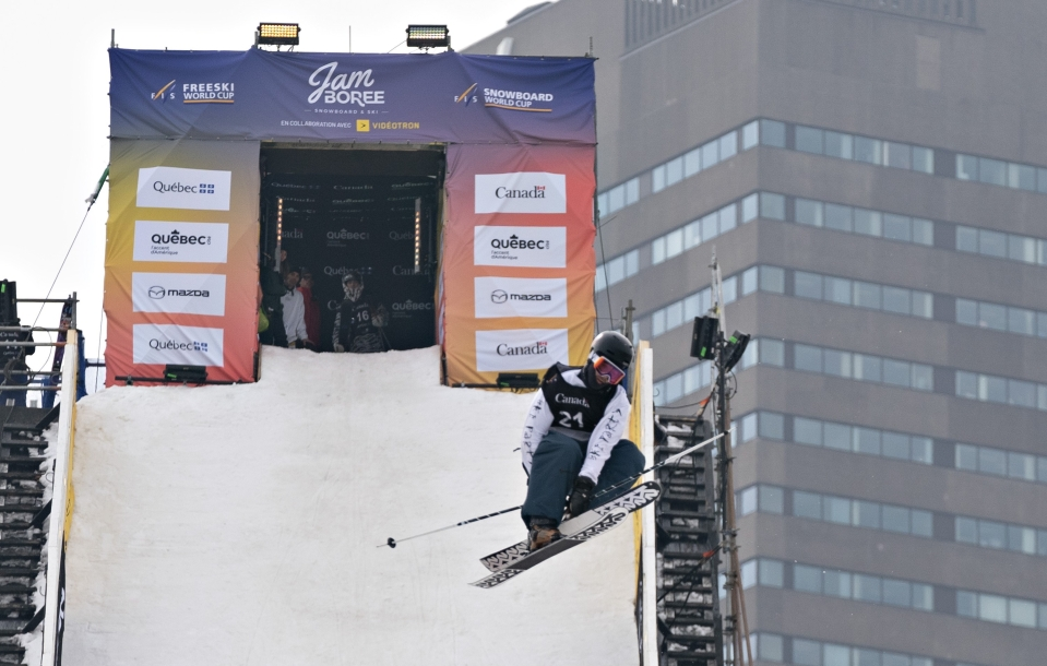 Mark Hendrickson of Calgary jumps at the FIS freestyle skiing world cup big air qualifier event, Thursday, March 14, 2019 in downtown Quebec City. The finals will be held on Saturday March 16. THE CANADIAN PRESS/Jacques Boissinot