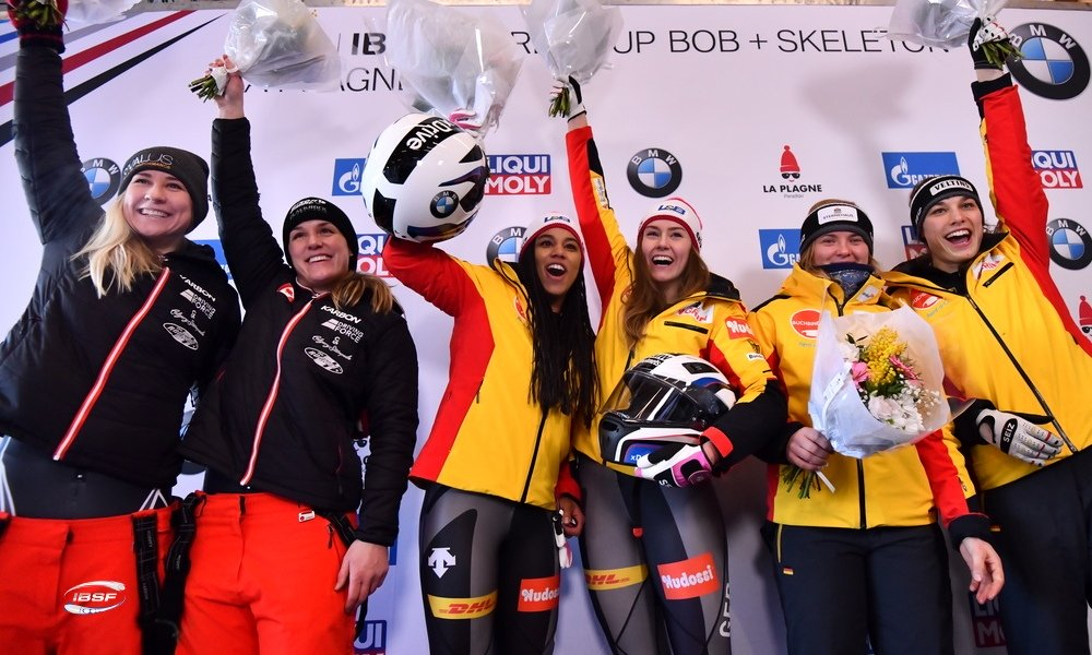 Christine de Bruin and Kristen Bujnowski at the Bobsleigh World Cup in La Plagne, France on January 11, 2020. (Photo from IBSF).