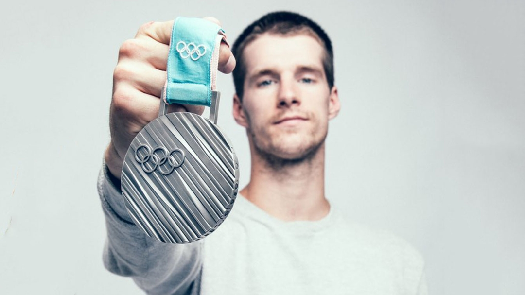 Max Parrot with his silver medal from PyeongChang 2018