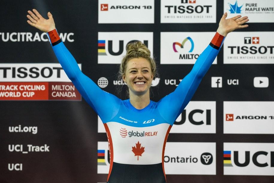 Canadian cyclist Kelsey Mitchell celebrates on podium