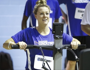 Kelsey Mitchell on the rowing machine at RBC Training Ground