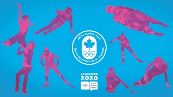 A 'meet the team' graphic featuring eight athletes around the Team Canada Youth Olympic Games logo and the Lausanne 2020 logo.