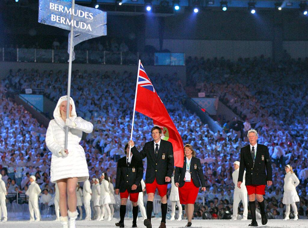 Bermuda walks out during the opening ceremonies of the Vancouver 2010 Olympics lead by flag bearer Tucker Murphy.