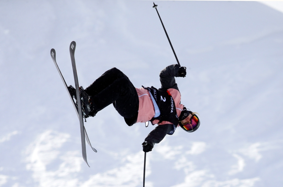 Cassie Sharpe, of Canada, competes during the qualifications for women's halfpipe skiing world championship Thursday, Feb. 7, 2019, in Park City, Utah. (AP Photo/Rick Bowmer)