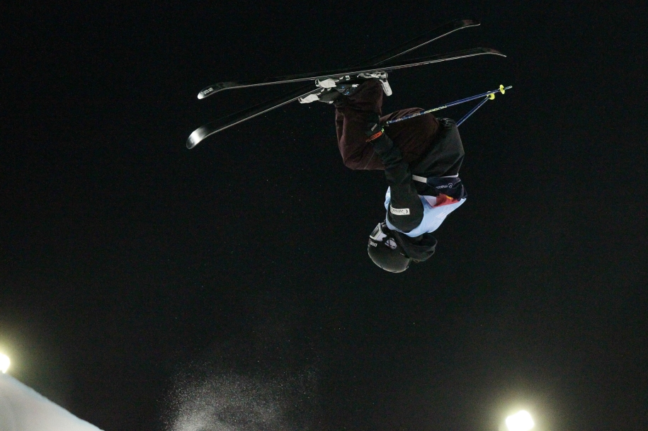 Rachael Karker, of Canada, is shown during a run in the finals women's skiing halfpipe event at a World Cup freestyle event