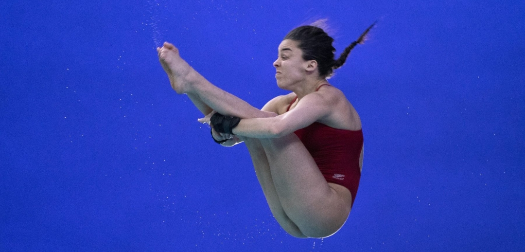 Canada's Meaghan Benfeito performs a dive in the women 10 metre platform at the FINA Diving World Series in Montreal on Saturday, February 29, 2020. THE CANADIAN PRESS/Paul Chiasson