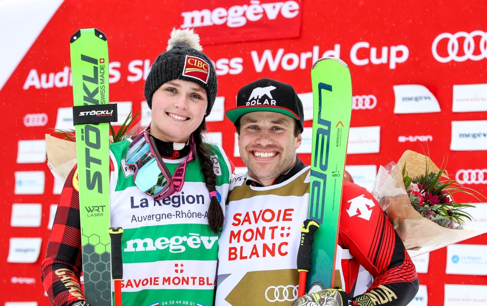 Marielle Thompson and Kevin Drury celebrate double gold medals in Megeve, France during Ski Cross World Cup on February 1, 2020.