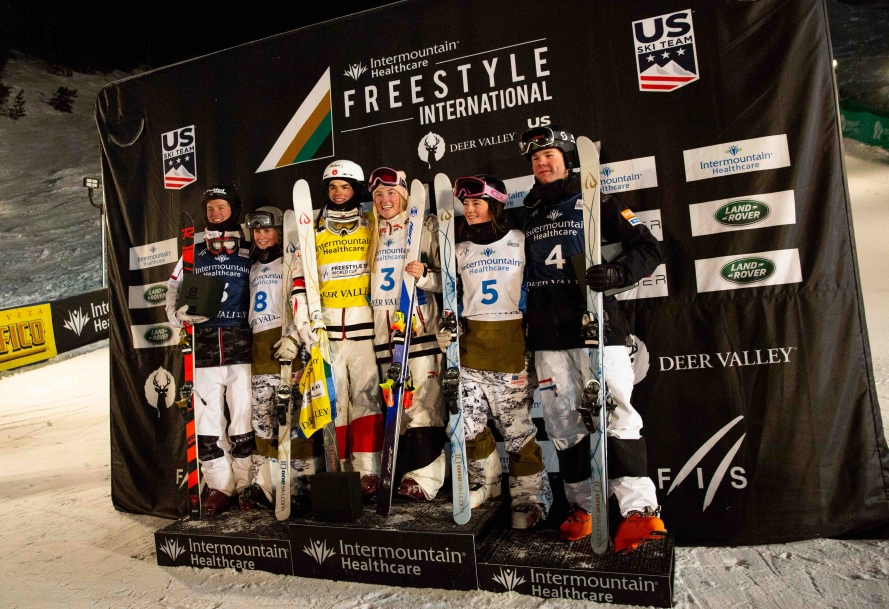 Medallists from Saturday's dual mogul event at the Deer Valley World Cup stand on the podium together