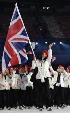 Shelley Rudman of Great Britain and Northern Ireland carries her national flag into the stadium during the Opening Ceremony of the 2010 Vancouver Winter Olympics at BC Place on February 12, 2010 in Vancouver, Canada.