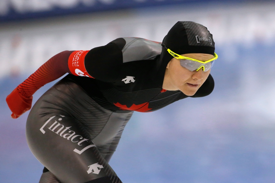 Canada's Isabelle Weidemann competes in long track speed skating