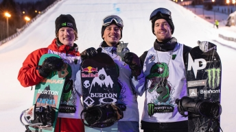 (L-R) Darcy Sharpe, Mark McMorris, and Max Parrot pose for a photo after reaching the podium in the men's big air event.