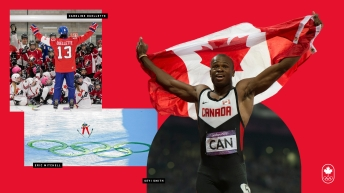 Athletes featured in hockey, ski jumping and athletics collage