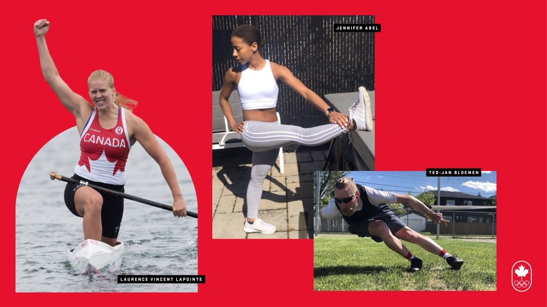 Three athletes training at home