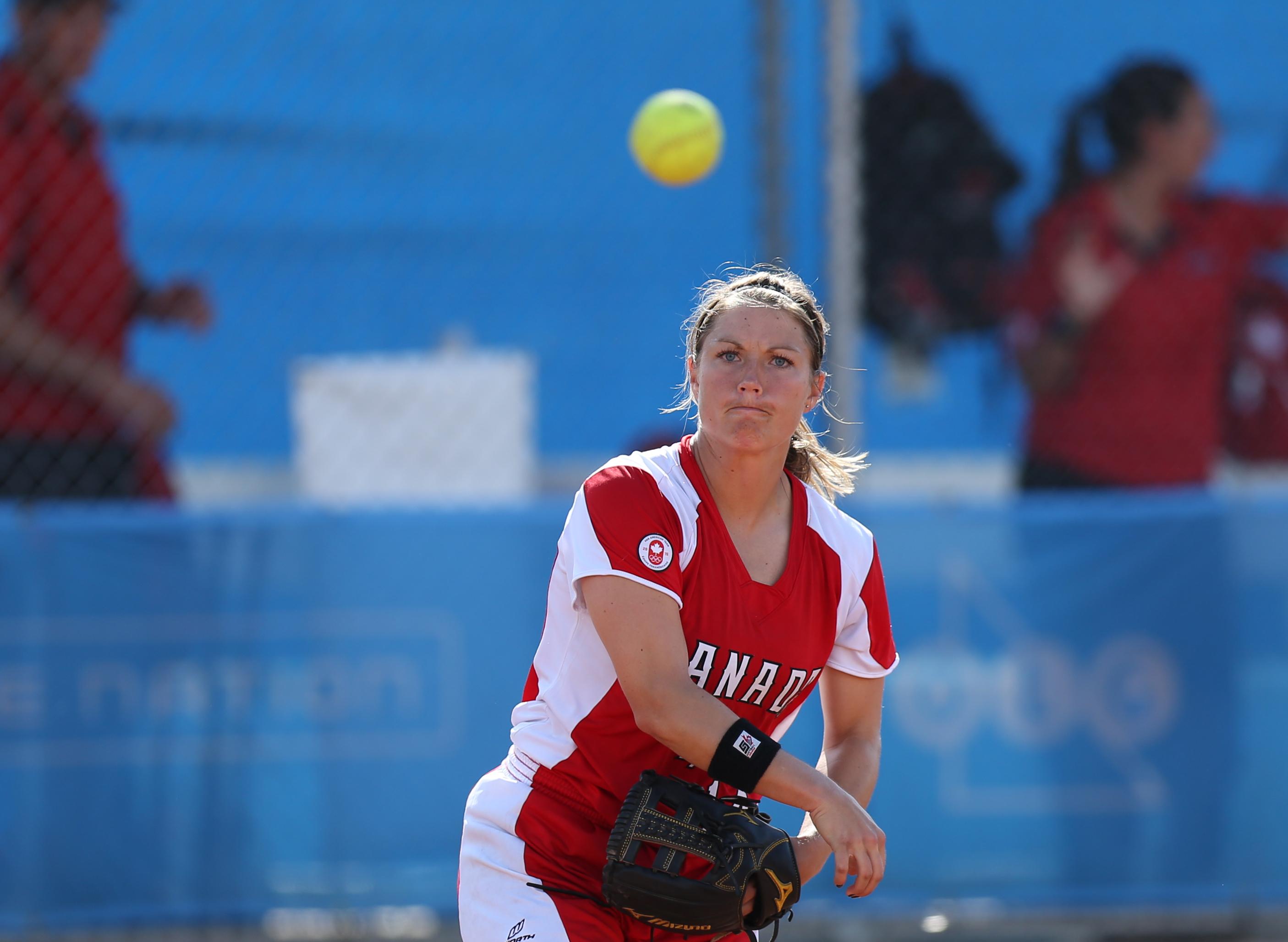 Player throwing softball