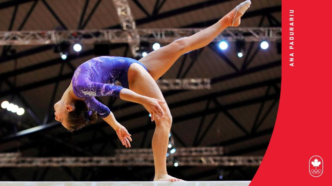 Ana Padurariu competes on beam
