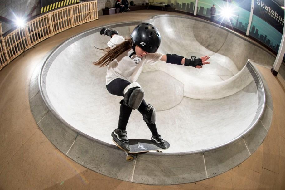Closeup of skateboarder doing trick