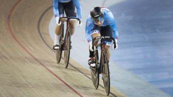 Lauriane Genest rides on the velodrome