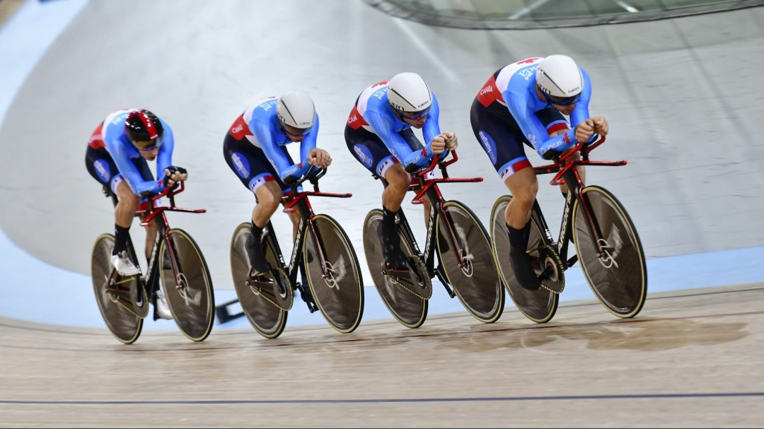 Canada's men's team pursuit racing in track cycling