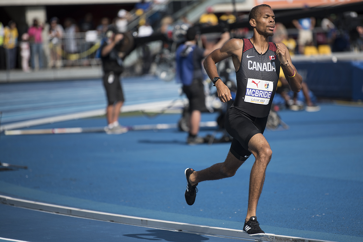 McBride running on track