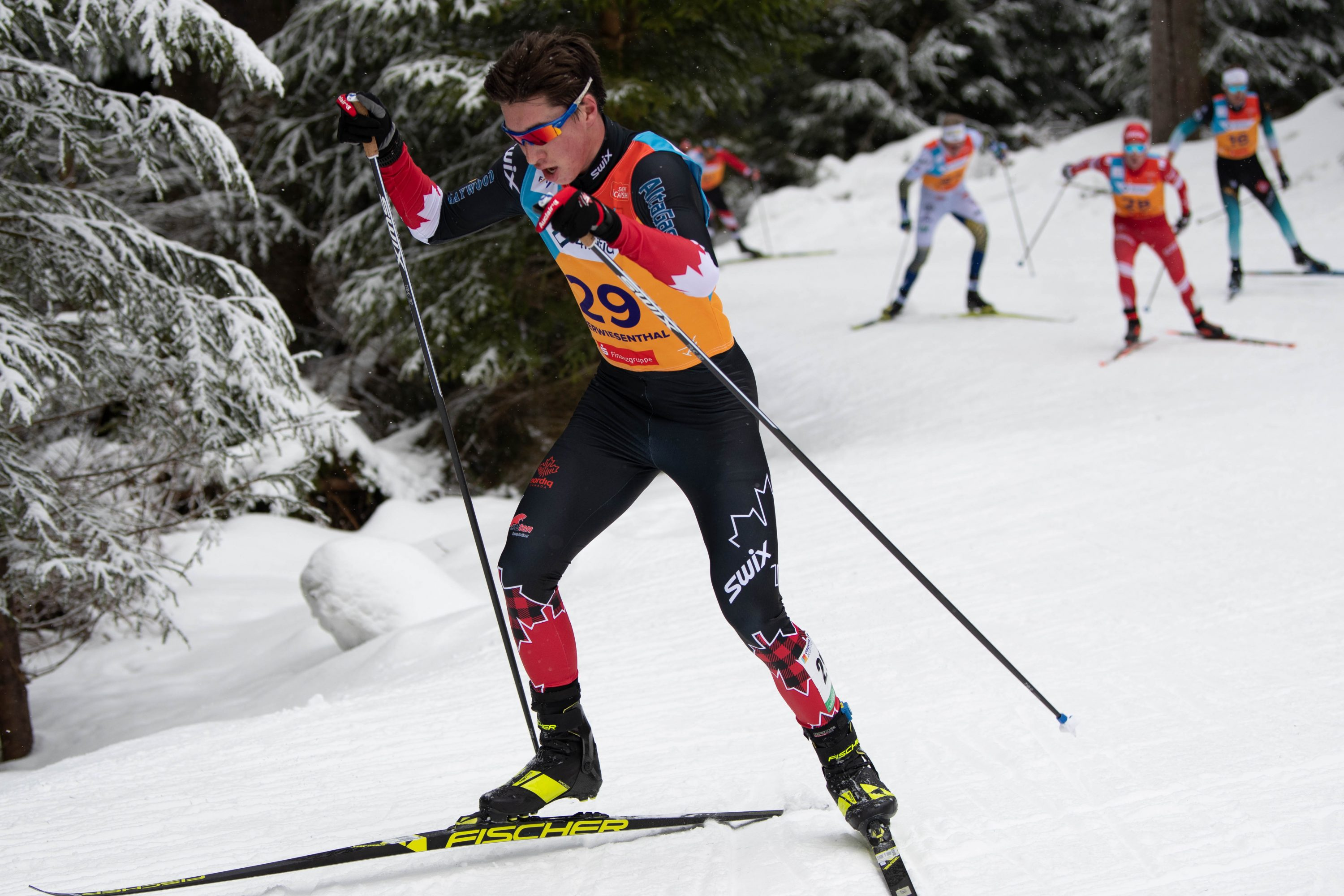 Xavier McKeever competes in cross-country skiing