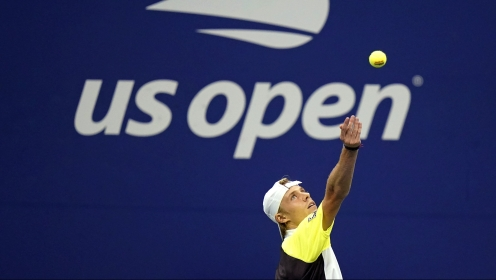 Pablo Carreno Busta, of Spain, Denis Shapovalov, of Canada, serves to Pablo Carreno Busta, of Spain, during the quarterfinal round of the US Open tennis championships, Tuesday, Sept. 8, 2020, in New York. (AP Photo/Frank Franklin II)