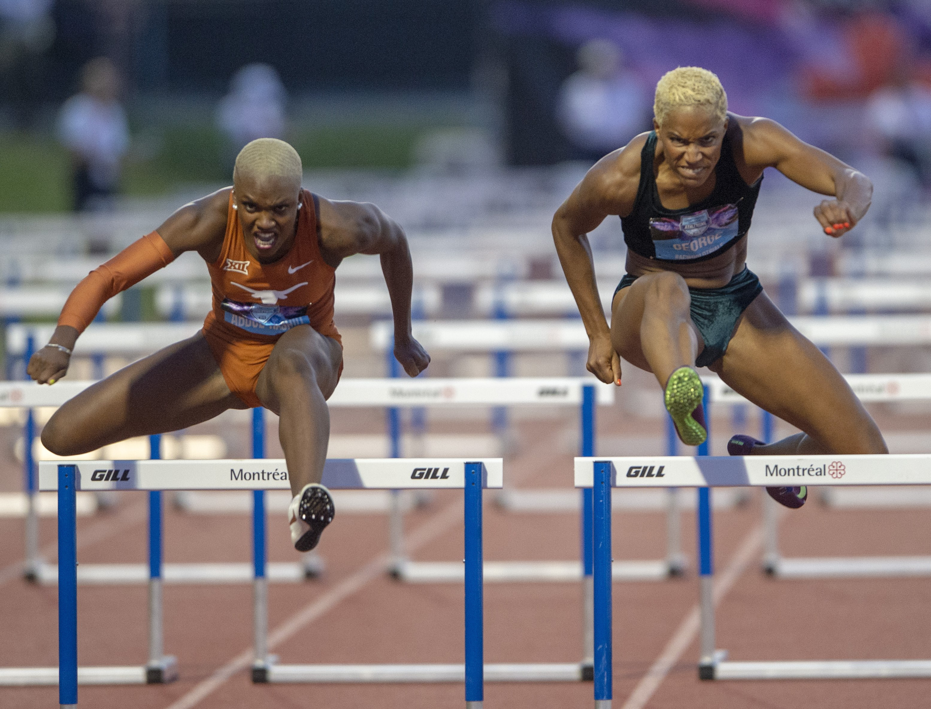 Mariam Abdul Rashid and Phylicia George race over hurdles